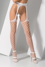 Collants ouverts S011 - Blanc : Collants ouverts sexy en filet blanc à larges mailles.